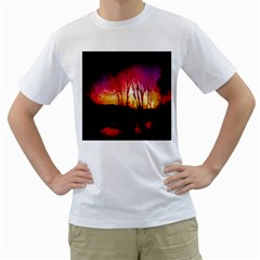 Fall Forest Background Men s T-Shirt (White) (Two Sided)
