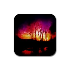 Fall Forest Background Rubber Coaster (Square)