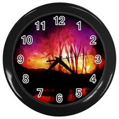 Fall Forest Background Wall Clocks (black)