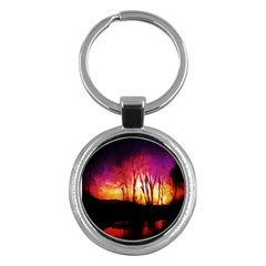 Fall Forest Background Key Chains (round)