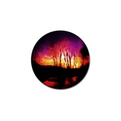 Fall Forest Background Golf Ball Marker
