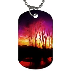 Fall Forest Background Dog Tag (Two Sides)