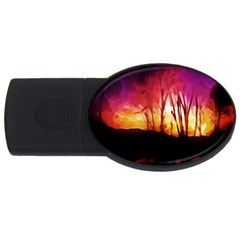 Fall Forest Background USB Flash Drive Oval (1 GB)