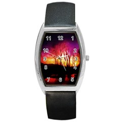 Fall Forest Background Barrel Style Metal Watch