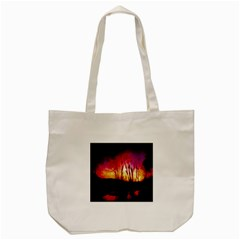 Fall Forest Background Tote Bag (Cream)