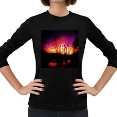 Fall Forest Background Women s Long Sleeve Dark T-Shirts