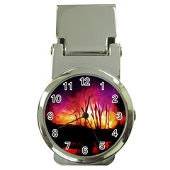 Fall Forest Background Money Clip Watches