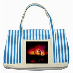 Fall Forest Background Striped Blue Tote Bag