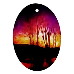 Fall Forest Background Oval Ornament (two Sides)