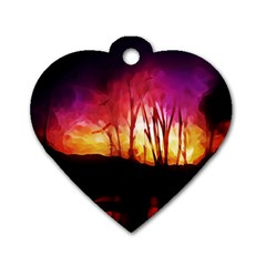 Fall Forest Background Dog Tag Heart (One Side)