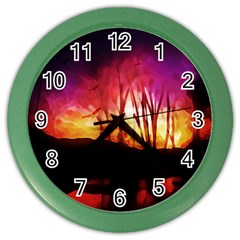 Fall Forest Background Color Wall Clocks