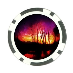 Fall Forest Background Poker Chip Card Guard