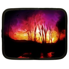 Fall Forest Background Netbook Case (Large)
