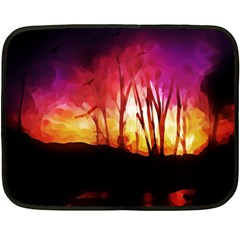 Fall Forest Background Double Sided Fleece Blanket (Mini)