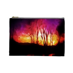 Fall Forest Background Cosmetic Bag (Large)