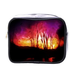 Fall Forest Background Mini Toiletries Bags