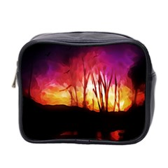 Fall Forest Background Mini Toiletries Bag 2-Side