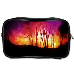 Fall Forest Background Toiletries Bags 2-Side