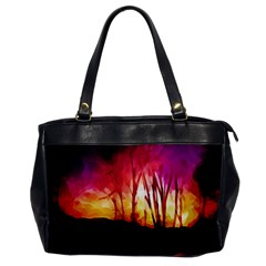 Fall Forest Background Office Handbags