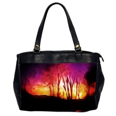 Fall Forest Background Office Handbags (2 Sides)