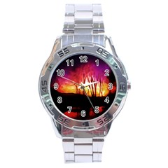 Fall Forest Background Stainless Steel Analogue Watch
