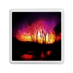 Fall Forest Background Memory Card Reader (square)