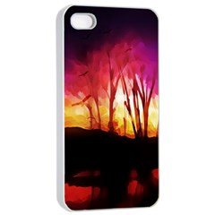 Fall Forest Background Apple Iphone 4/4s Seamless Case (white)