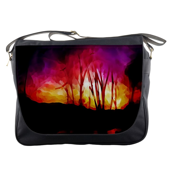 Fall Forest Background Messenger Bags