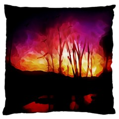 Fall Forest Background Large Cushion Case (two Sides)