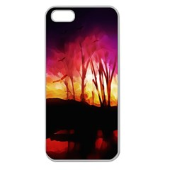 Fall Forest Background Apple Seamless Iphone 5 Case (clear)