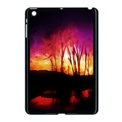 Fall Forest Background Apple iPad Mini Case (Black)