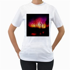 Fall Forest Background Women s T-Shirt (White)