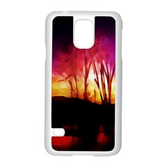 Fall Forest Background Samsung Galaxy S5 Case (White)
