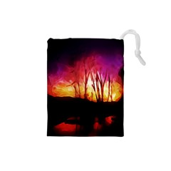 Fall Forest Background Drawstring Pouches (Small)