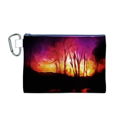 Fall Forest Background Canvas Cosmetic Bag (M)