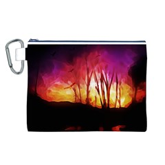 Fall Forest Background Canvas Cosmetic Bag (L)