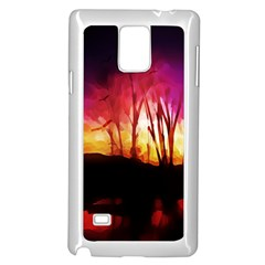 Fall Forest Background Samsung Galaxy Note 4 Case (White)