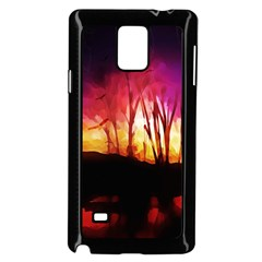 Fall Forest Background Samsung Galaxy Note 4 Case (black)