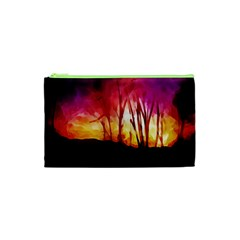 Fall Forest Background Cosmetic Bag (XS)