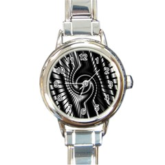 Abstract Background Resembling To Metal Grid Round Italian Charm Watch