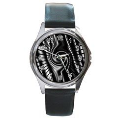 Abstract Background Resembling To Metal Grid Round Metal Watch