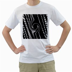 Abstract Background Resembling To Metal Grid Men s T Shirt (white) (two Sided)