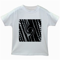 Abstract Background Resembling To Metal Grid Kids White T-Shirts