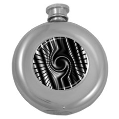 Abstract Background Resembling To Metal Grid Round Hip Flask (5 Oz)