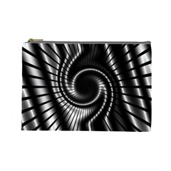 Abstract Background Resembling To Metal Grid Cosmetic Bag (Large)