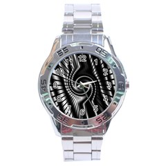 Abstract Background Resembling To Metal Grid Stainless Steel Analogue Watch