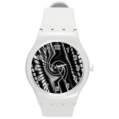 Abstract Background Resembling To Metal Grid Round Plastic Sport Watch (m)