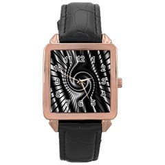 Abstract Background Resembling To Metal Grid Rose Gold Leather Watch