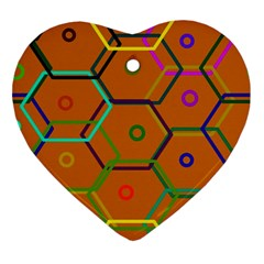 Color Bee Hive Color Bee Hive Pattern Ornament (heart)