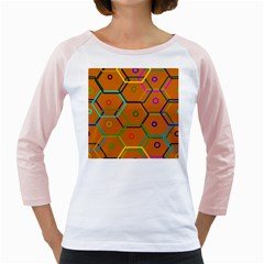 Color Bee Hive Color Bee Hive Pattern Girly Raglans